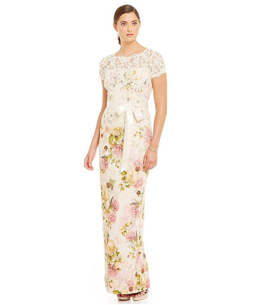 Adrianna Papell Lace Over Lay Bodice Floral Jacquard Short Sleeve Gown