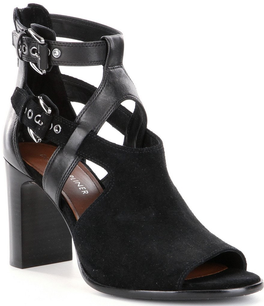Donald J Pliner Ronnie Buckled Straps Suede & Leather Shooties