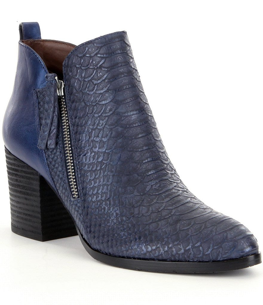 Donald J Pliner Edyn Metallic Snake Print Side Zip Block Heel Booties