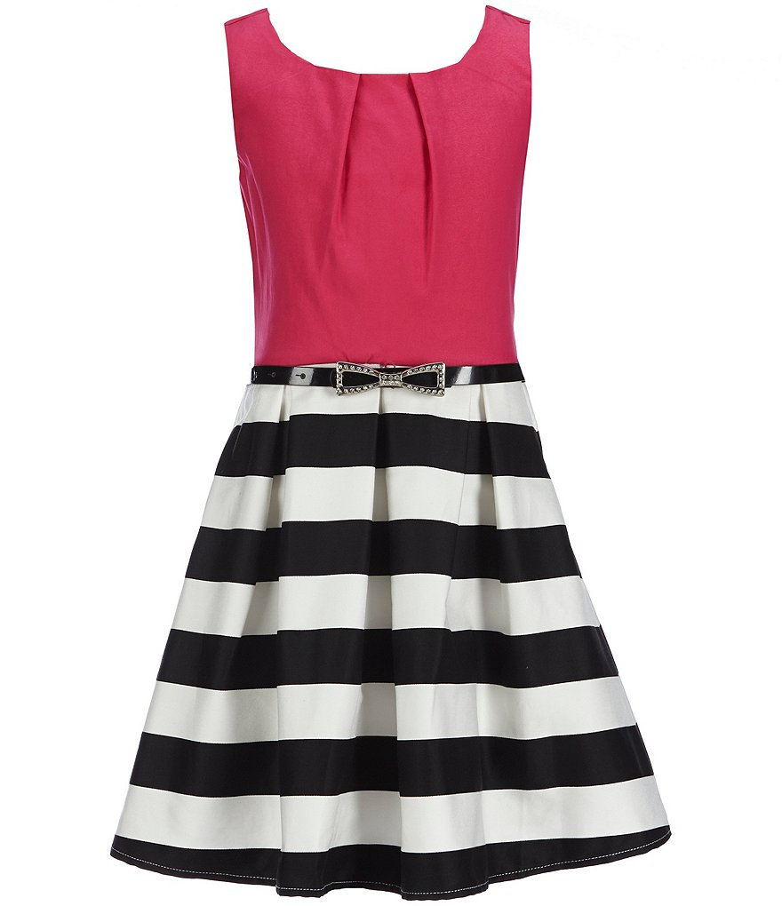 Honey and Rosie Big Girls 7-16 Color Blocked Striped Skirt Sateen Party Dress