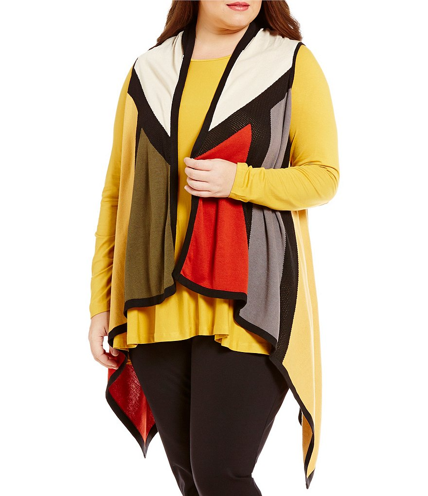 Multiples Plus Drape Front Color Block Sweater Knit Vest