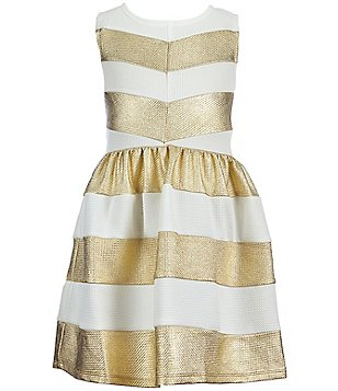 Honey and Rosie Big Girls 7-16 Metallic Striped Skater Dress