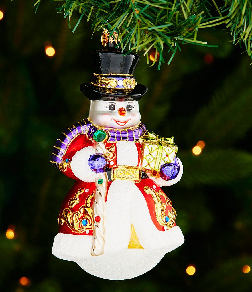 Christopher Radko 2016 Snowmen Collection Sir Scarlet Snow Ornament