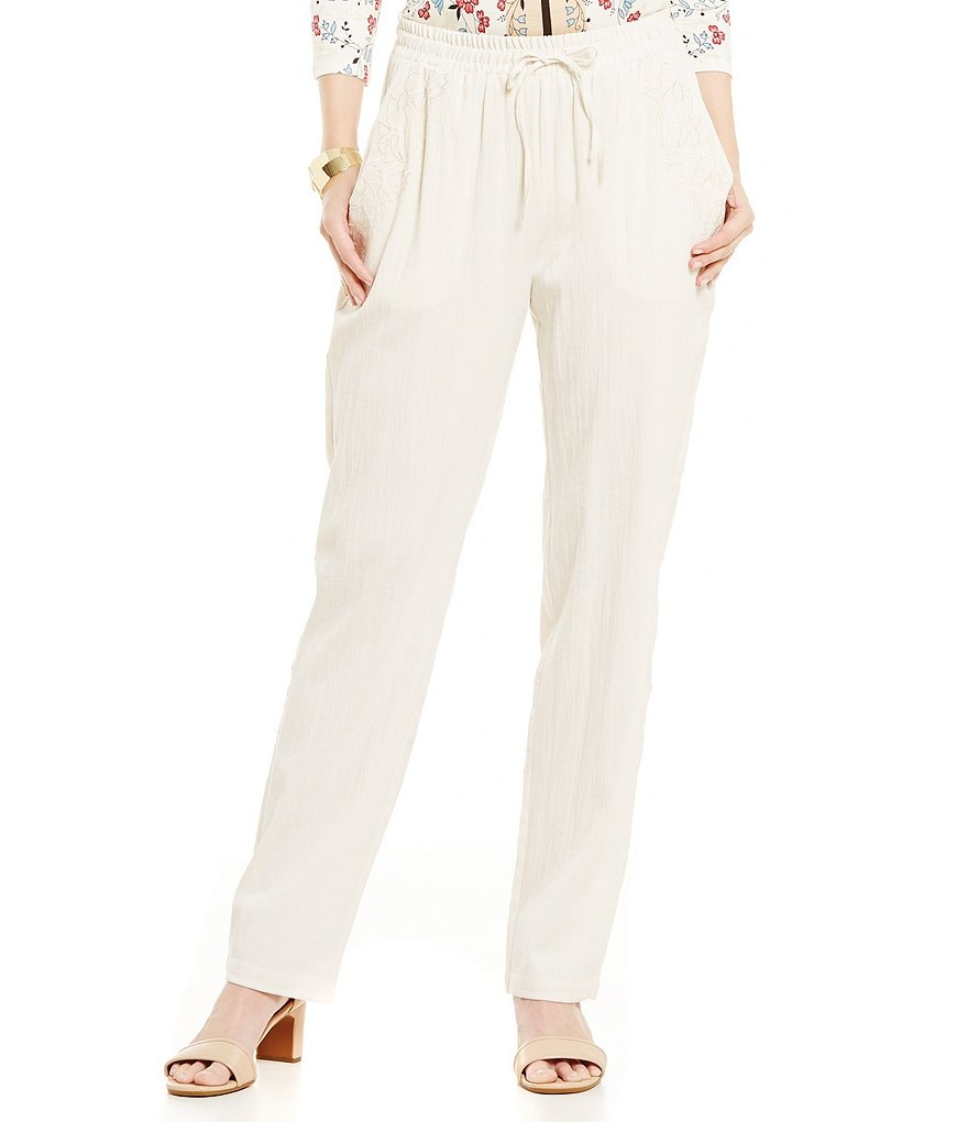 Nurture Embroidered Drawstring Close Pant