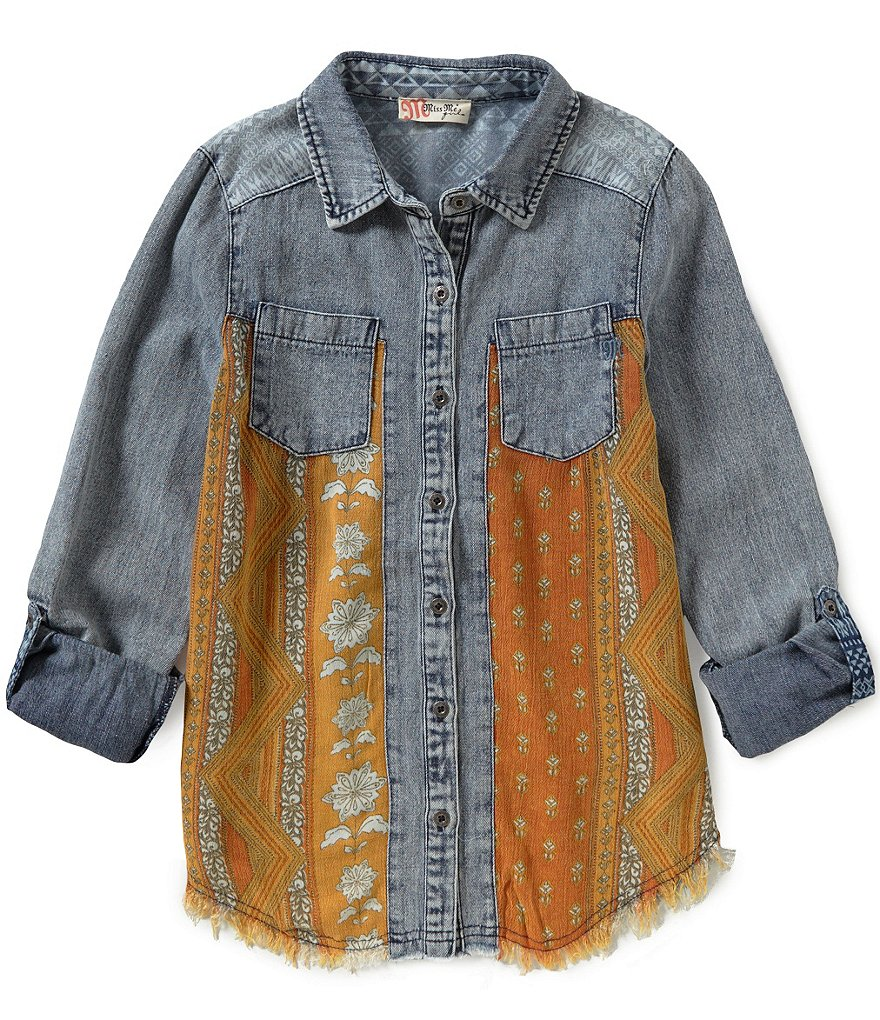 Miss Me Big Girls 7-16 Chambray Printed Top