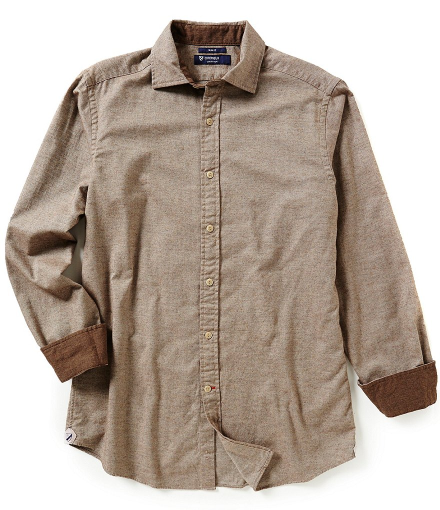 Cremieux Highland Peaks Collection Slim-Fit Elbow-Patch Solid Woven Shirt