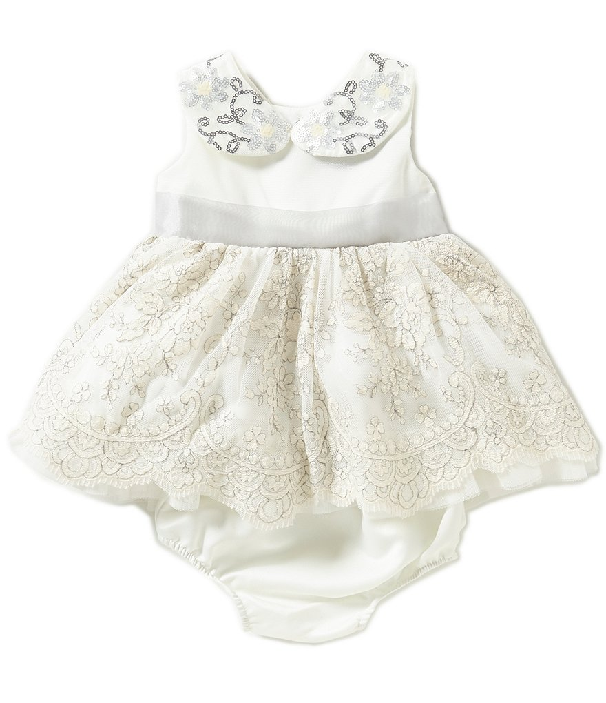 Rare Editions Baby Girls 3-24 Months Beaded-Collar Embroidered Lace Dress