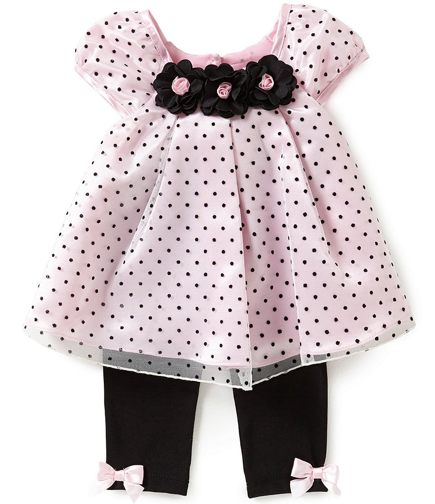 Rare Editions Baby Girls 3-24 Months Flocked-Dot Dress and Solid Leggings Set