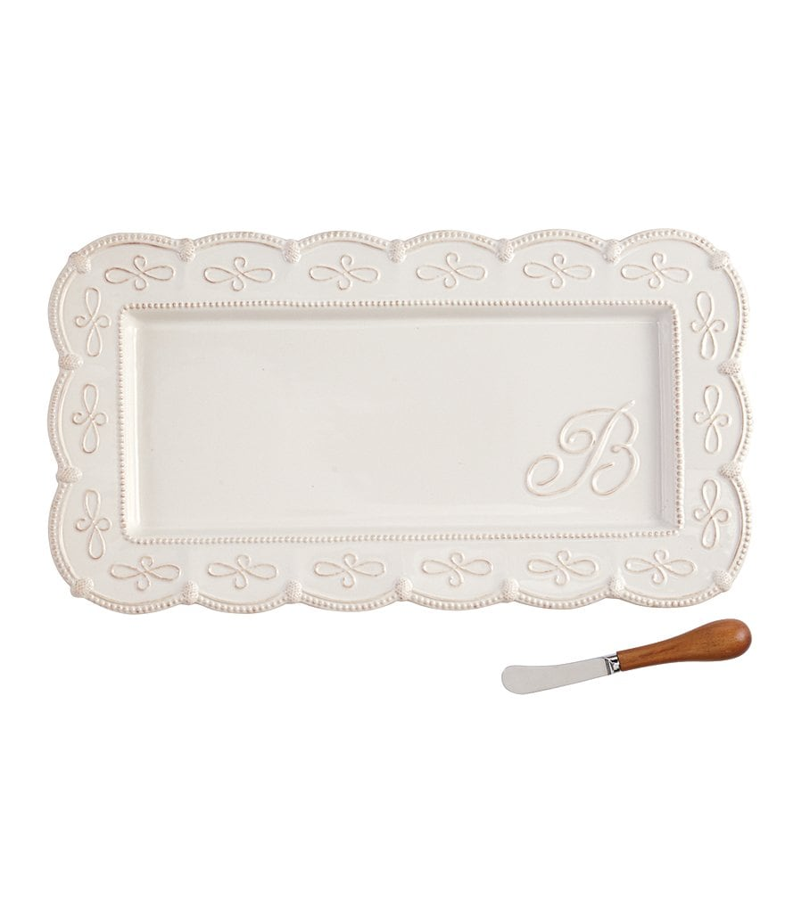 Mud Pie Scalloped Embossed Initial Stoneware Hostess Tray with Spreader