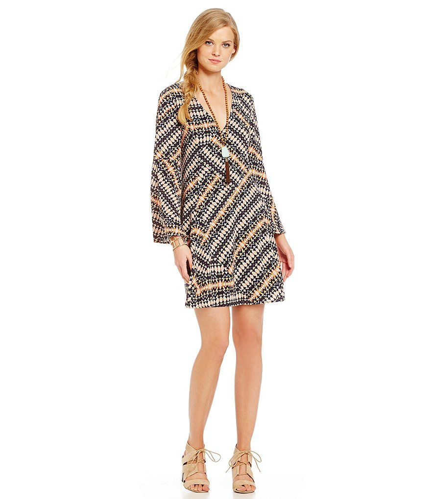 Lucy Paris Andrea Geo Print Bell Sleeve Sheath Dress