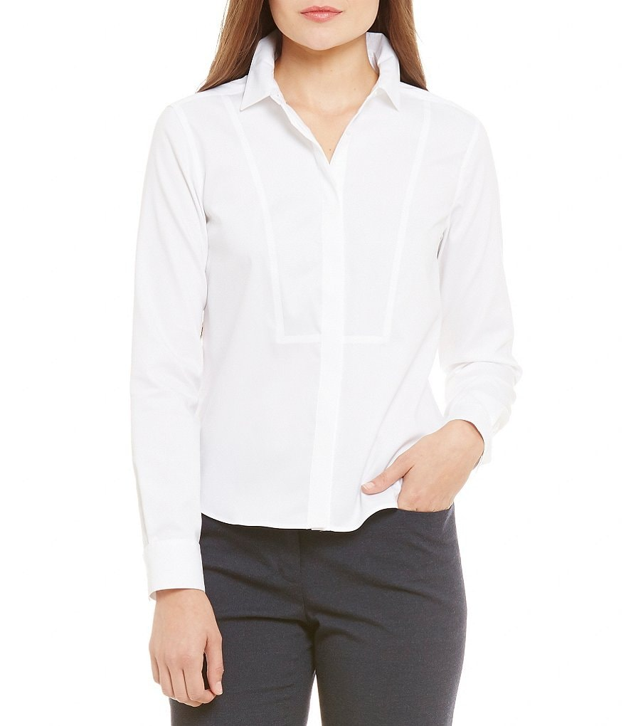 Calvin Klein Wrinkle-Free Pinpoint Oxford Hidden Placket Long Sleeve Shirt