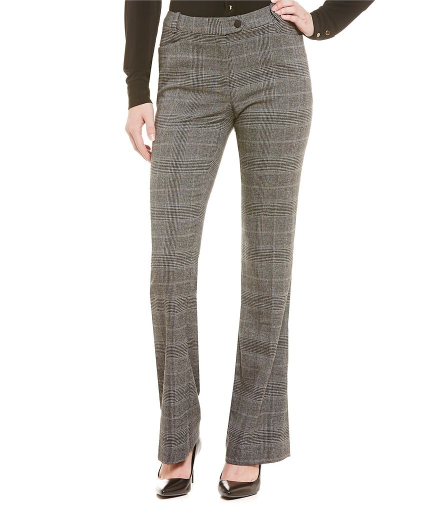 Calvin Klein Petites Glen Plaid Modern-Fit Straight-Leg Pants