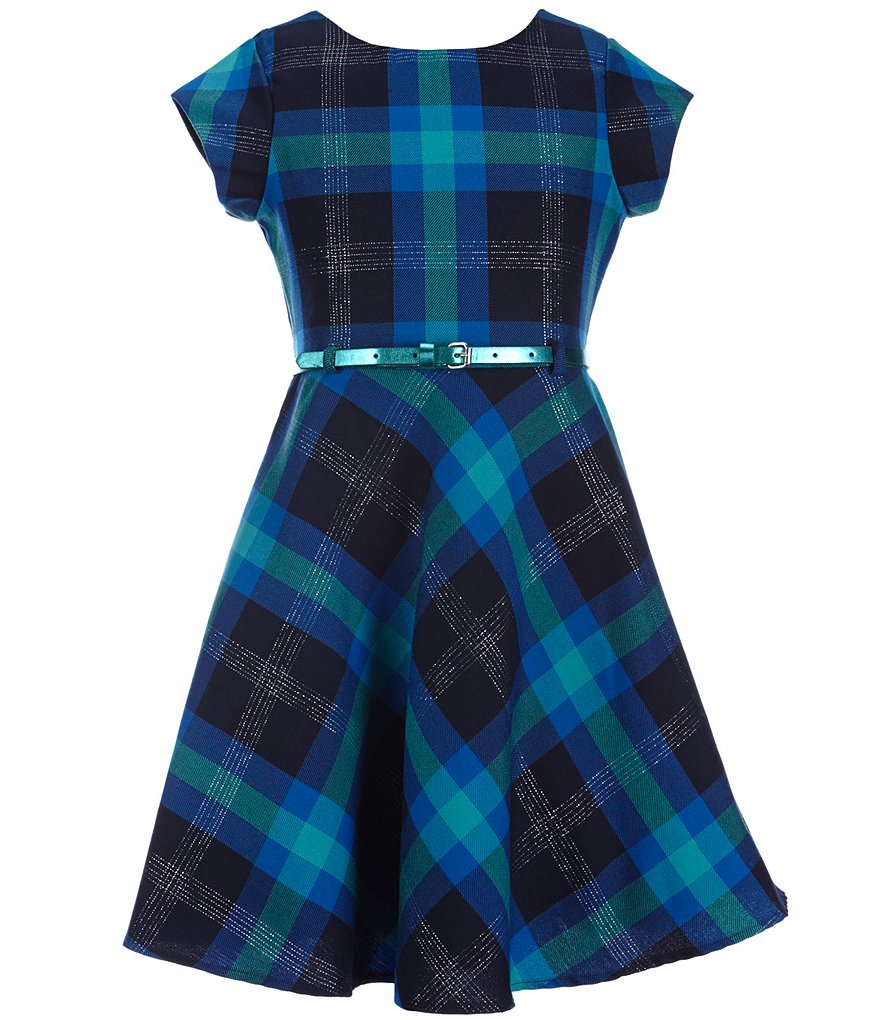 Sweet Heart Rose Big Girls 7-16 Plaid Belted Dress
