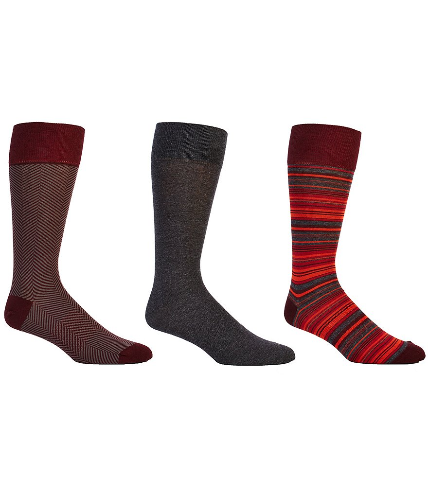 Gold Label Roundtree & Yorke Stripe Combo Crew Dress Socks 3-Pack