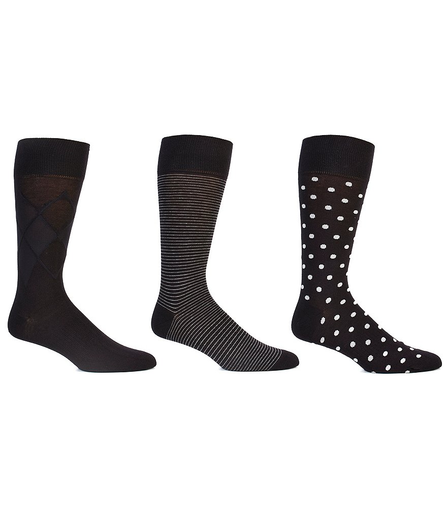 Gold Label Roundtree & Yorke Dot Combo Crew Dress Socks 3-Pack