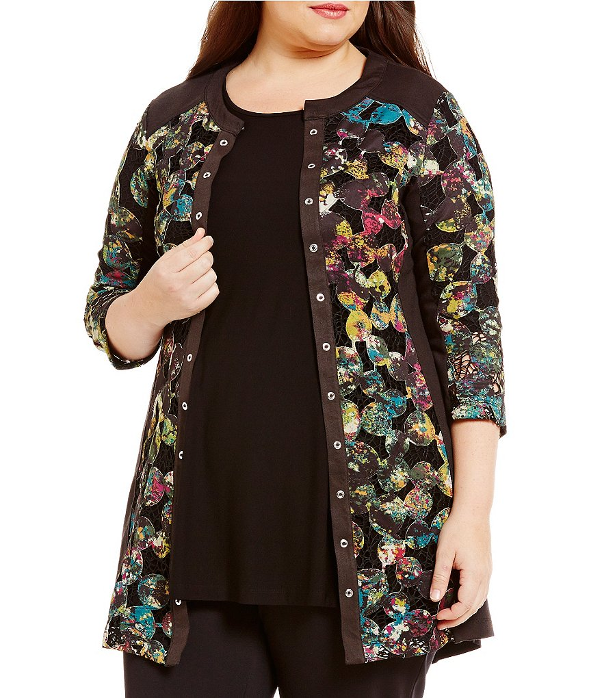 Multiples Plus 3/4 Sleeve Print Knit Long Jacket