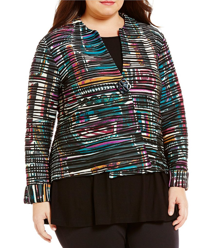 Multiples Plus One-Button Front Stripe Texture Knit Jacket