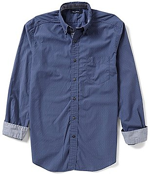 Nautica Dotted-Print Poplin Classic-Fit Long-Sleeve Shirt