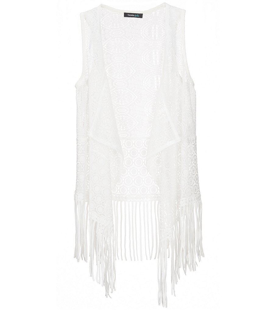 Takara Big Girls 7-16 Crochet Fringe Trim Vest
