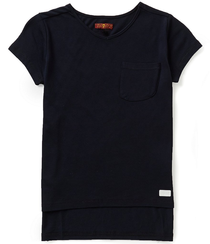 7 for All Mankind Big Girls 7-16 V-Neck Pocket Tee