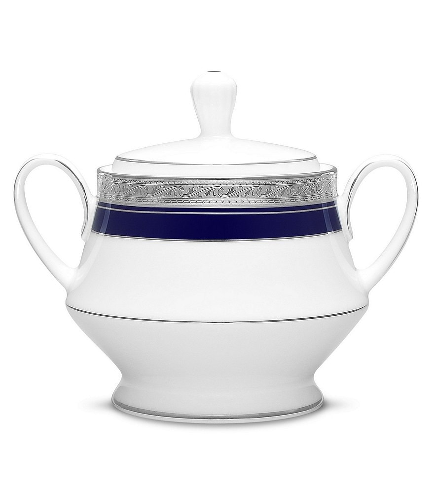 Noritake Crestwood Cobalt Etched Platinum Porcelain Sugar Bowl with Lid
