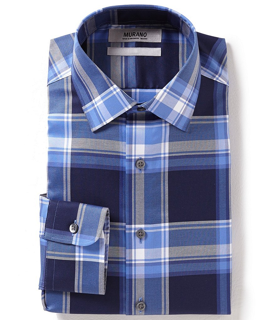 Murano Slim-Fit Plaid Spread-Collar Dress Shirt