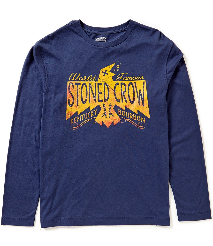 Cremieux Jeans Long-Sleeve Stoned Crow Graphic Tee