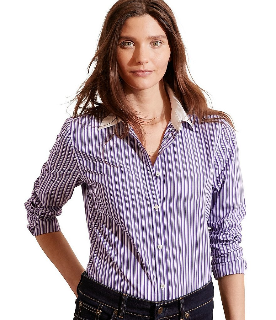 Lauren Ralph Lauren Petite Striped Stretch Cotton Button Down Shirt