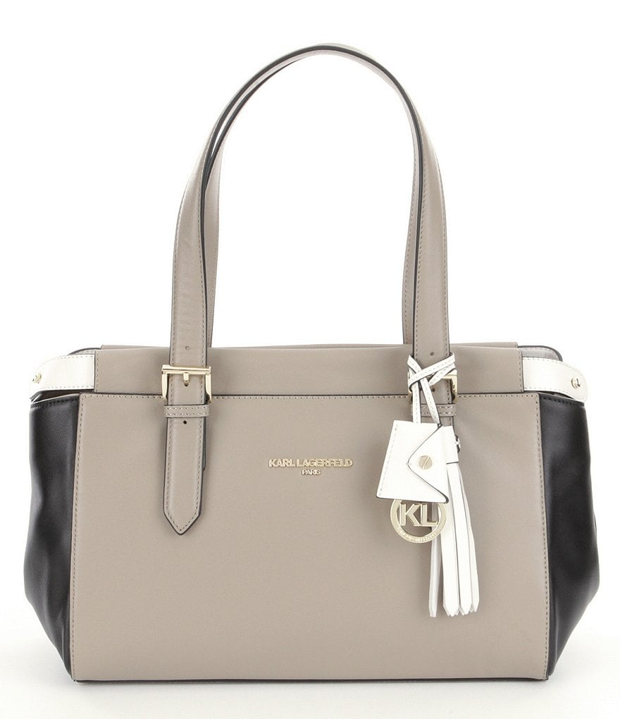 KARL LAGERFELD PARIS Paulette Tasseled Colorblocked Tote