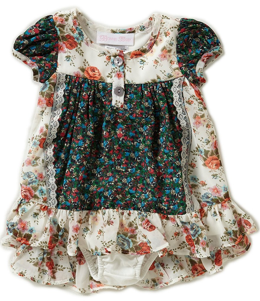 Bonnie Baby Girls Newborn-24 Months Mixed-Floral-Printed Dress