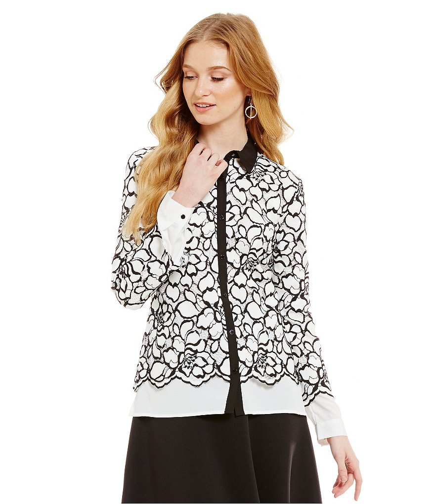 KARL LAGERFELD PARIS Lace Two-fer Blouse