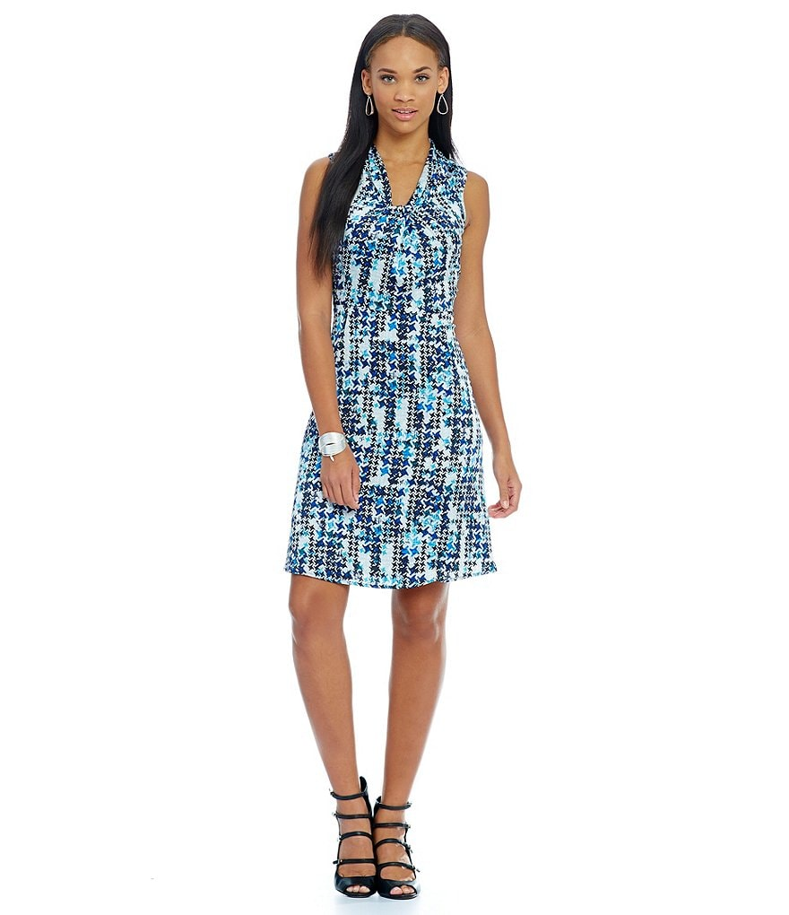 KARL LAGERFELD PARIS Printed Knot Neck Dress