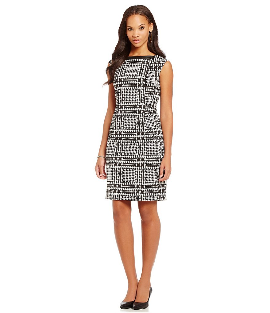 KARL LAGERFELD PARIS Houndstooth Jacquard Dress