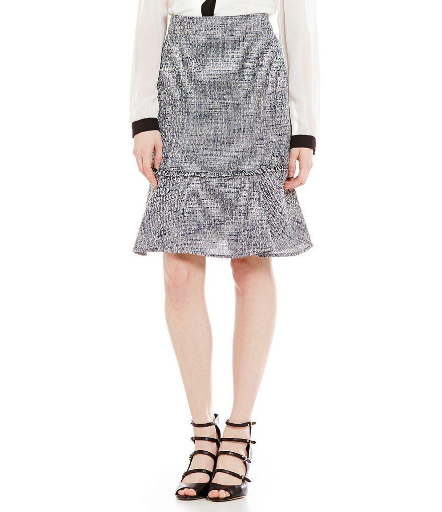 KARL LAGERFELD PARIS Tweed Flounce Pencil Skirt