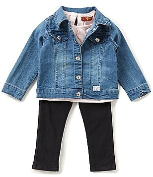7 for All Mankind Baby Girls 12-24 Months Denim Jacket, Striped Jersey Tee, & Twill Pants Set