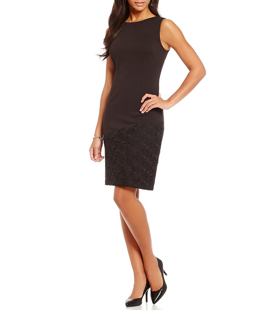 KARL LAGERFELD PARIS Lace Hem Sheath Dress