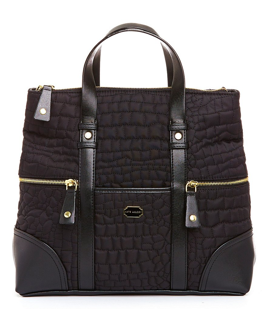 Kate Landry Quilted Crocodile-Embossed Backpack