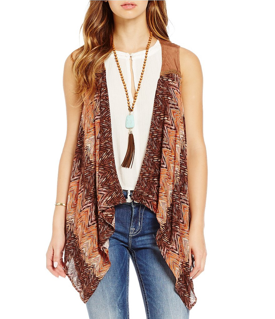 Miss Me Waterfall Printed Drape-Front Vest