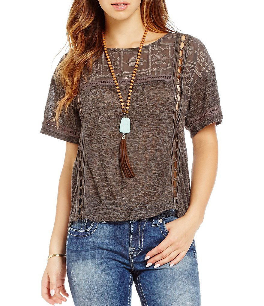 Miss Me Solid Embroidered-Yoke Tee