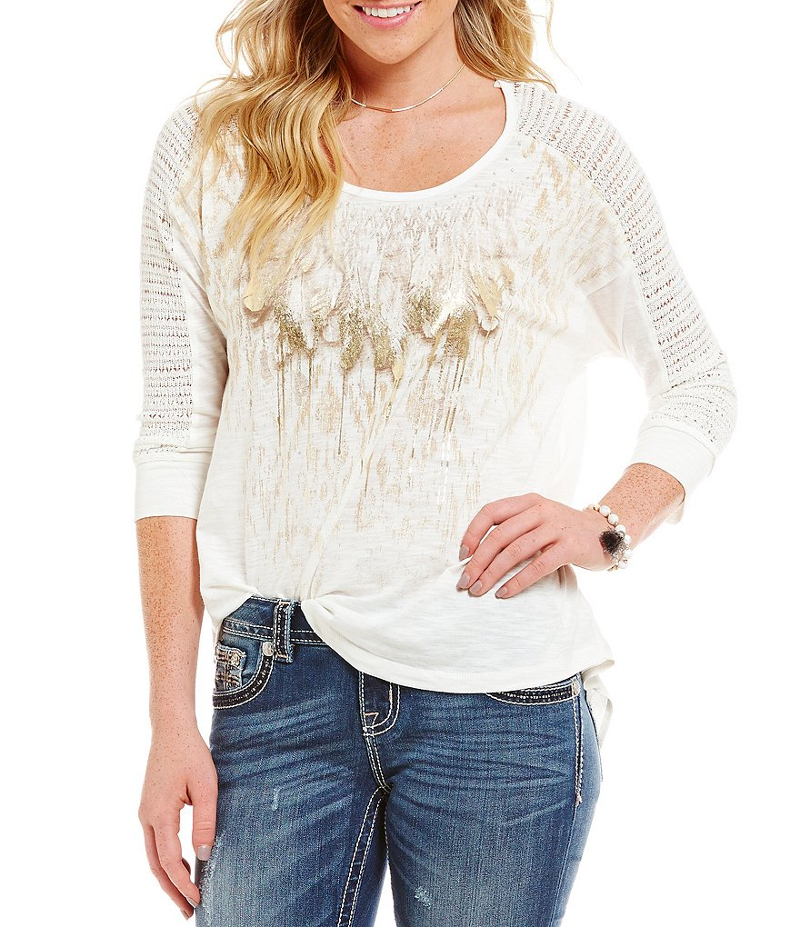 Miss Me High-Low Lace Shoulder Feather-Print Knit Top