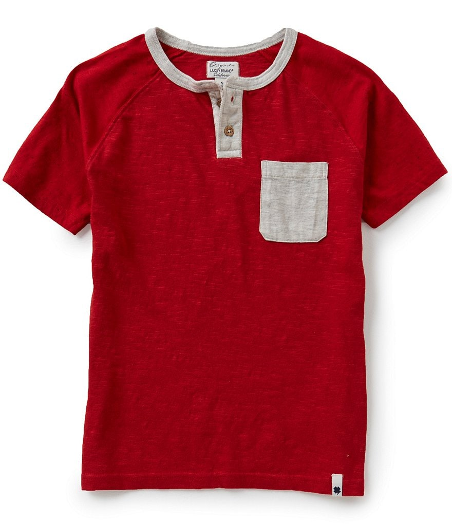 Lucky Brand Big Boys 8-20 Color Blocked Henley Raglan-Short-Sleeve Slub Jersey Pocket Tee