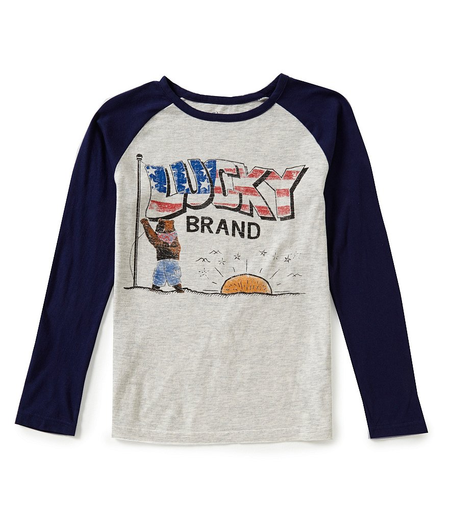Lucky Brand Big Boys 8-20 Reveille Stars-and-Stripes Graphic Long-Raglan-Sleeve Tee
