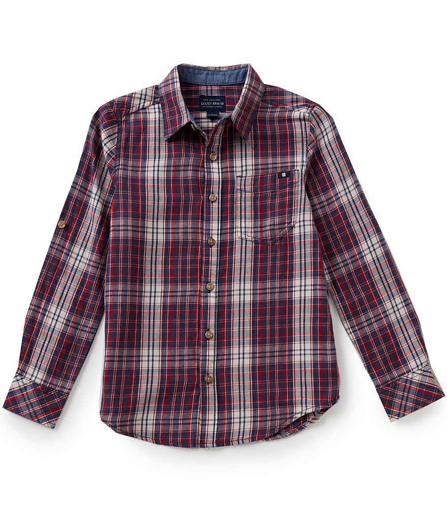Lucky Brand Big Boys 8-20 Patriot Plaid Long-Sleeve Woven Shirt