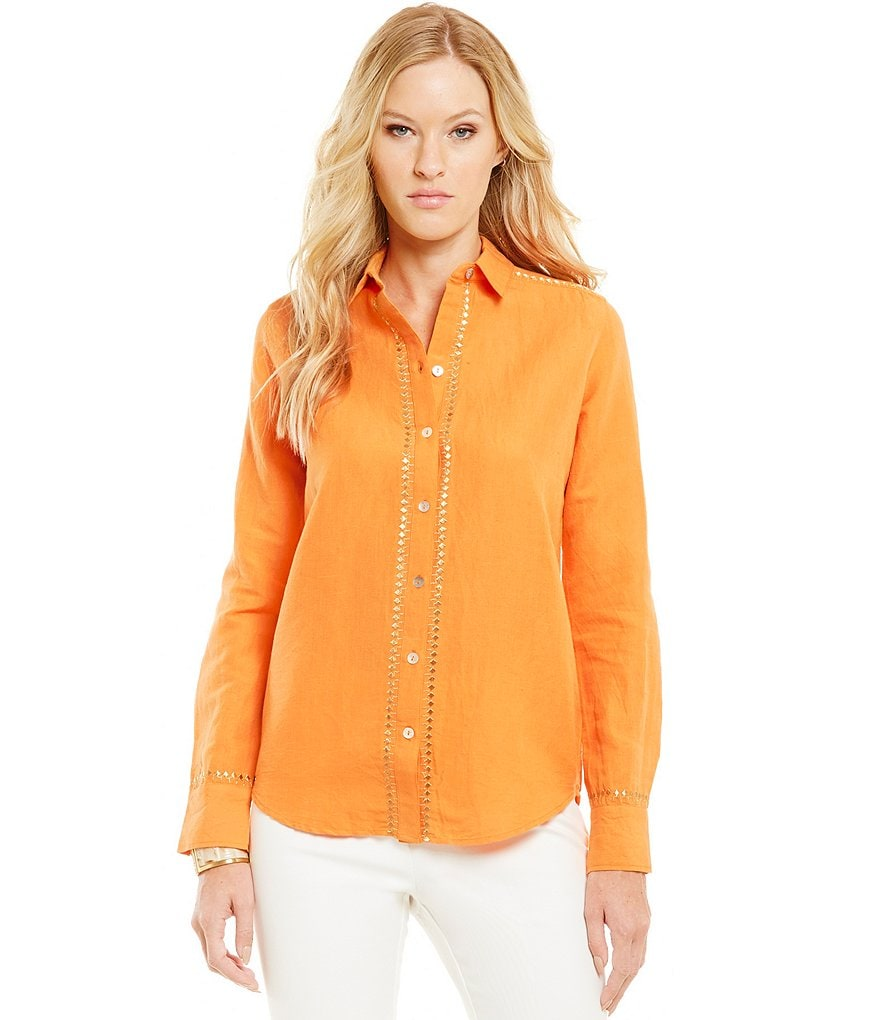Sigrid Olsen Signature Embroidered Button Front Shirt