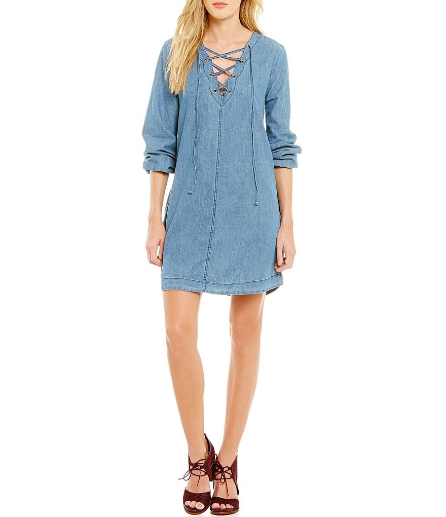 Blu Pepper Long-Sleeve Chambray Lace-Up Shift Dress