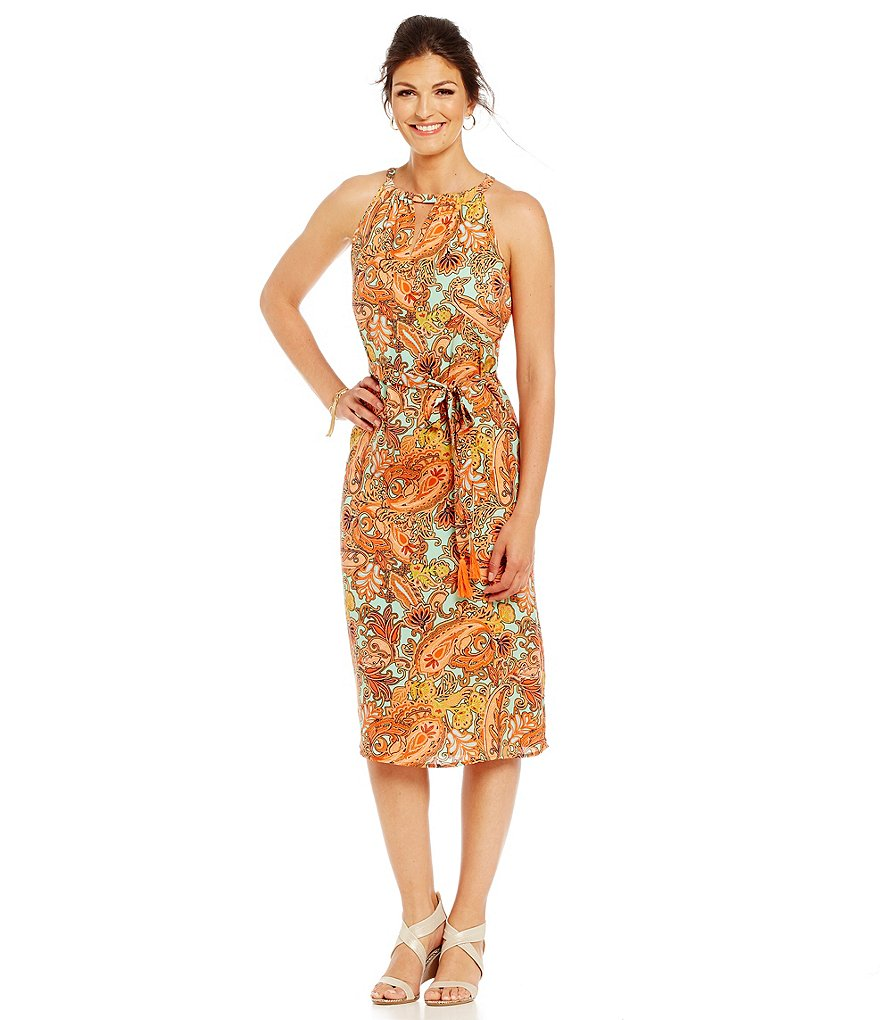 Sigrid Olsen Signature Paisley Print Midi Dress