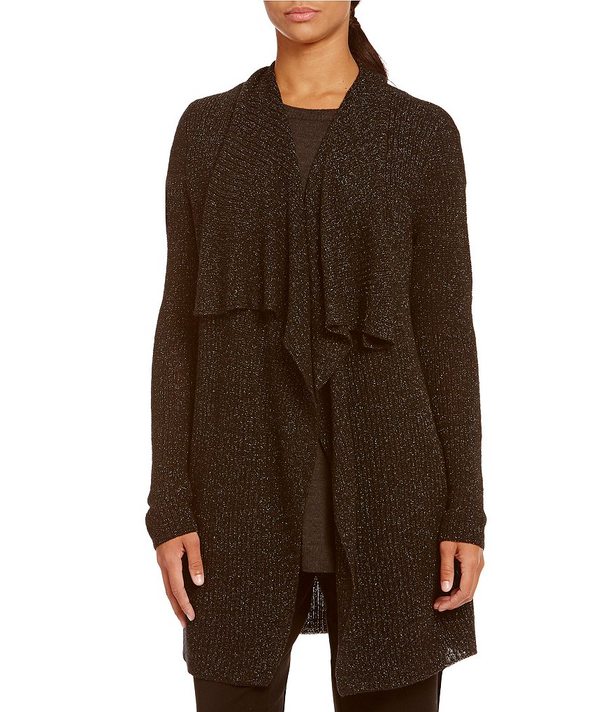 Eileen Fisher Shimmer Drape Front Cardigan