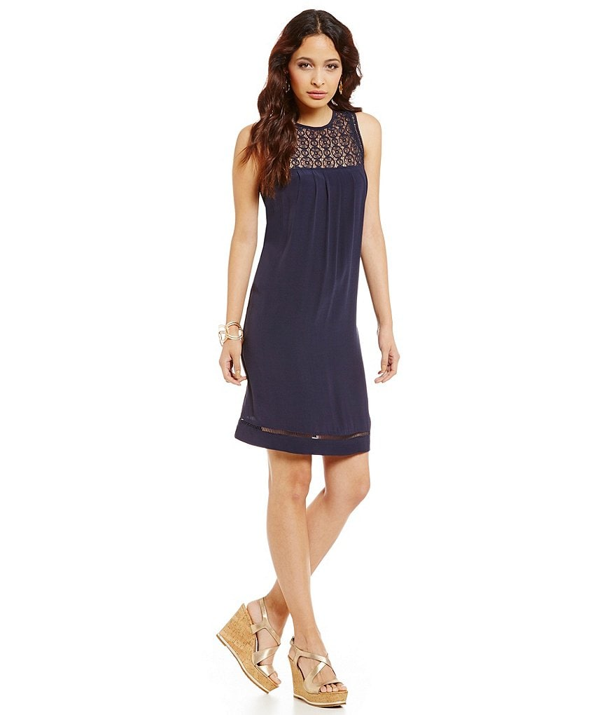 Sigrid Olsen Signature Lace Yoke Shift Dress