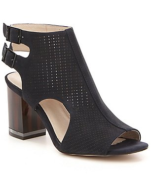 Louise Et Cie Vanita Perforated Suede Block Heel Sandals