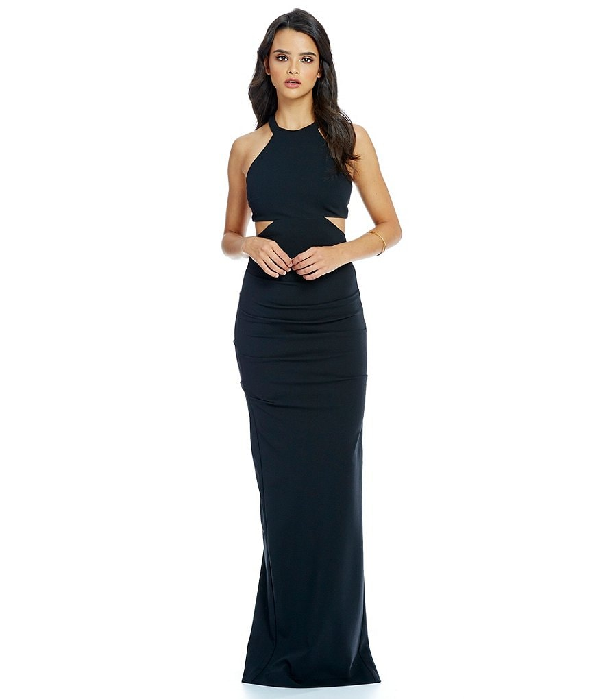 Nicole Miller Collection Structured Jersey Sleeveless Cut Out Gown